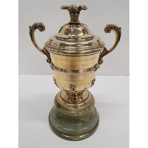821 - A Chester silver gilt Trophy Cup with inscription ' The Old Newton Cup, Haydock 1961 won by Menelek....