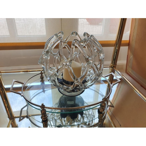 154 - A lovely Glass and Silver Plated Centrepiece Tray with centrepiece pierced bowl.