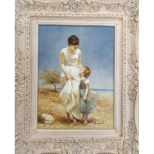 25 - An Oil on Board of a girl holding her mothers hand near a beach. Signed Laurent lower right and insc...