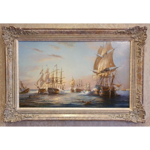 26 - Francis S Smitheman 1927 - 2016, English 20th Century Oil on Canvas 'The Battle of the Nile 1798' si...