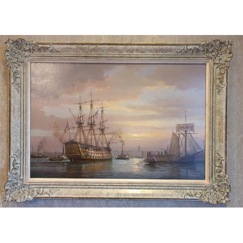 27 - Francis S Smitheman 1927 - 2016, English 20th Century Oil on Canvas 'HMS Victory' signed lower left ...