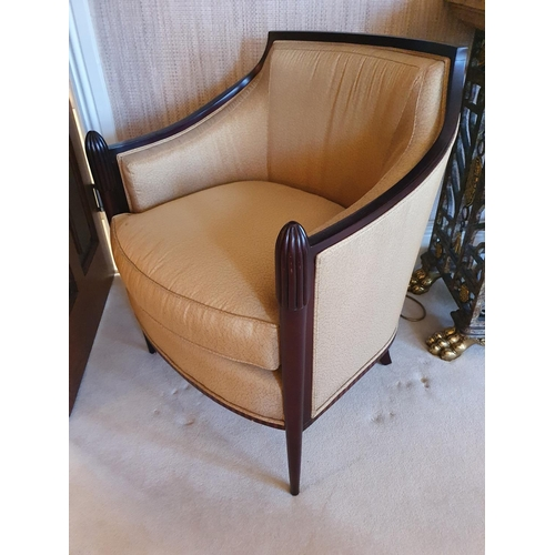 78 - A lovely pair of Mahogany Showframe Tub Chairs with brown/beige upholstery on slender supports. 68w ...