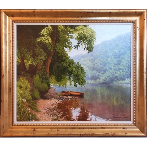 79 - Michael James Smith. Modern British. Oil on Canvas of a wooded landscape with rowing boats. Signed l...