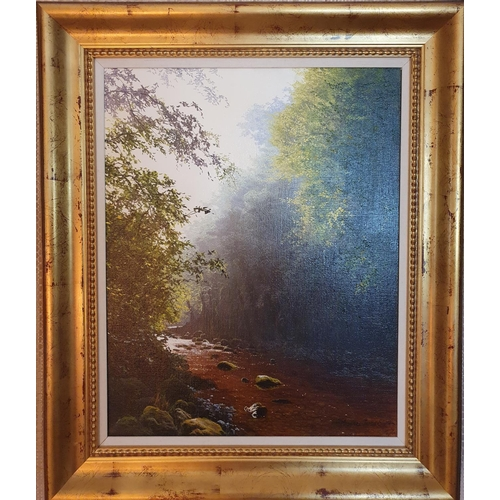 80 - Michael James Smith, modern British. Oil on Canvas of a wooded landscape with running water. Signed ...