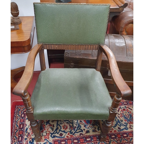 3 - A really good 19th Century Oak Hall Chair with green leatherette seat and back.W 59 Seat height 47 c...