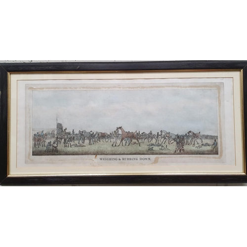 11 - Eyrefield Lodge; A 19th Century overpainted Engraving 'Weighing and Rubbing down' along with a Penci...