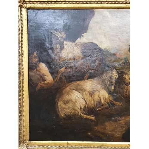 12 - Eyrefield Lodge; A 19th Century Oil On Canvas of sheep in a highland setting in a really good gilt f...