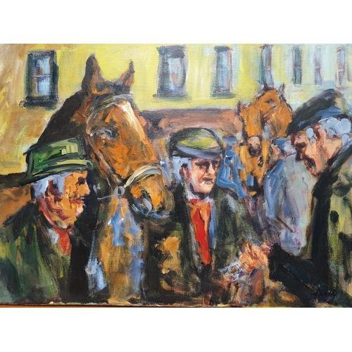 16 - Ann Kelly 'Tallow Horse Fair'. An Oil On Canvas. Unframed. Size 61 x 46 cms approx.