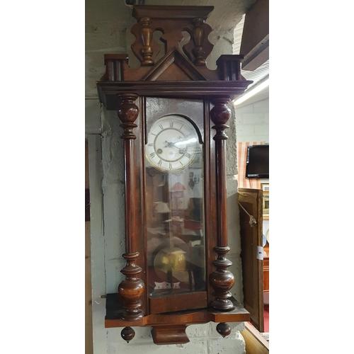 2 - A late 19th Century Mahogany Vienna Wall Clock.W 34.5 x d 16 x H 82 cms approx.