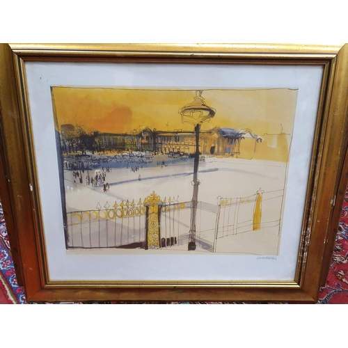 29 - A 20th Century Watercolour of a lake scene signed S. Martin along with a signed coloured Print of Pl...