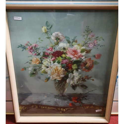 33 - A coloured Print of a still life of flowers along with other Pictures.