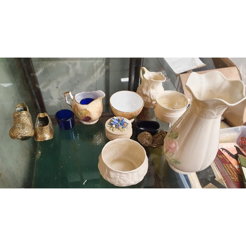 55 - A nice quantity of items to include Belleek etc. Largest H 17.5 cms approx.