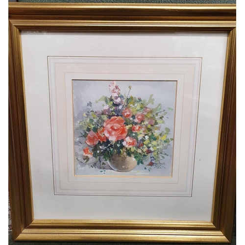 6 - A good pair of Still Life Watercolours of vases of flowers in gilt frames by Derek Brown. Monogramed...