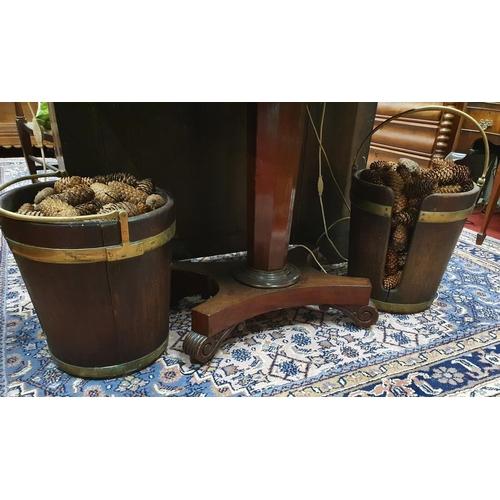 559 - A good original pair of Georgian Mahogany Irish Brass bound Plate Buckets of superb quality. D 37 x ...