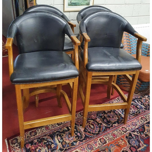 3 - A good high Stool with black leather seat and arms.