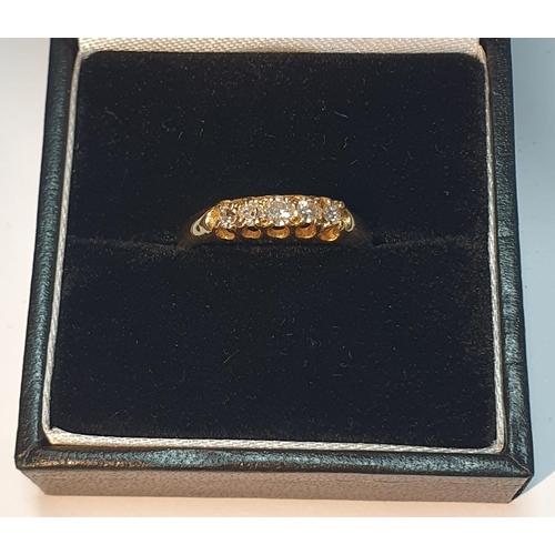 10 - Late Victorian 18ct gold diamond five-stone ring, estimated total diamond weight 0.20ct, hallmarks f...
