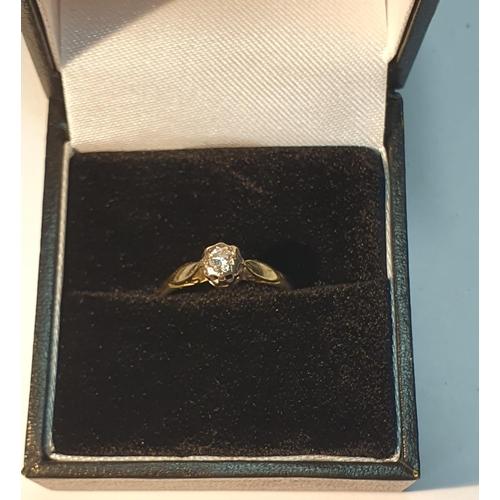16 - 18ct gold diamond single-stone ring, estimated diamond weight 0.10ct, H-I colour, P1 clarity, hallma...