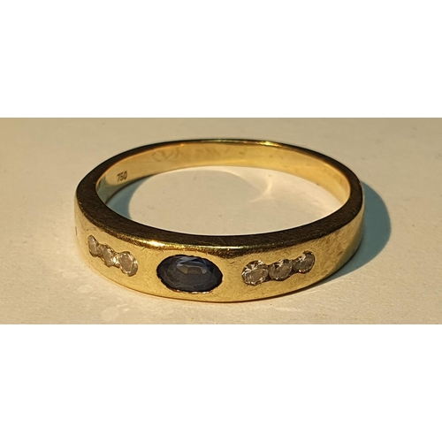17 - Sapphire and diamond ring, estimated total diamond weight 0.10ct, stamped 750, ring size approximate...