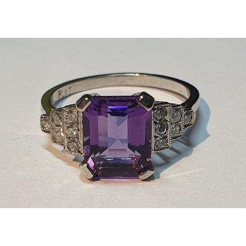2 - An amethyst and brilliant-cut diamond ring. Amethyst calculated weight 2cts, based on estimated dime...