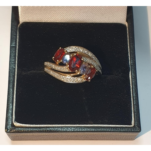 3 - 9ct gold garnet, amethyst and diamond cluster ring, hallmarks for 9ct gold, ring size P, 2.8gms