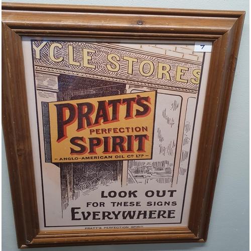 A 'Pratt's Perfection Spirit' Print. 55W x 65H cms approx.