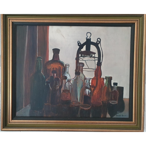 1 - An Oil on Board of Bottles by Deirdre Dunne. Signed LR. 50 x 63cm approx.