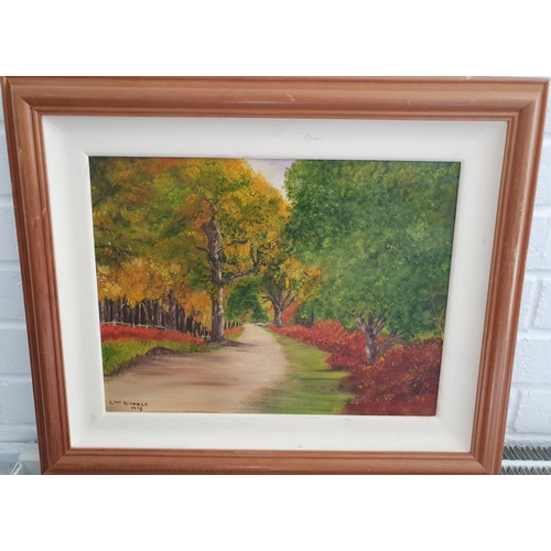 4 - An Oil on Canvas of a country scene by L McDonald along with a group of pictures.