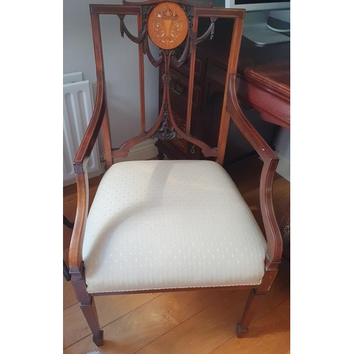 36 - A Fabulous Edwardian Mahogany Inlaid Suite of Furniture to include a pair of elbow chairs and a two ...