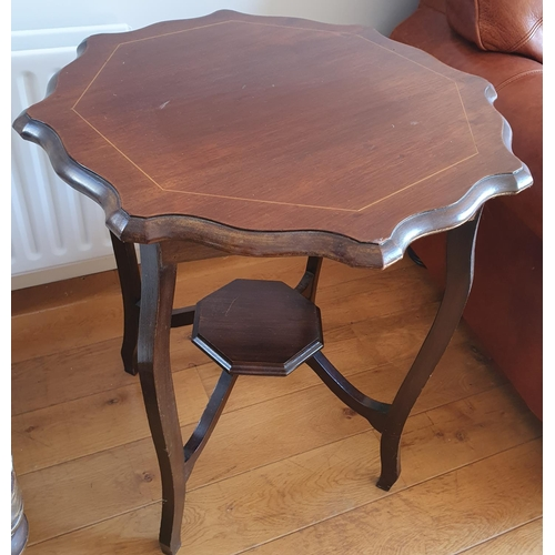 42 - An Edwardian Mahogany Inlaid Centre Table. 61 x H 74cm approx.