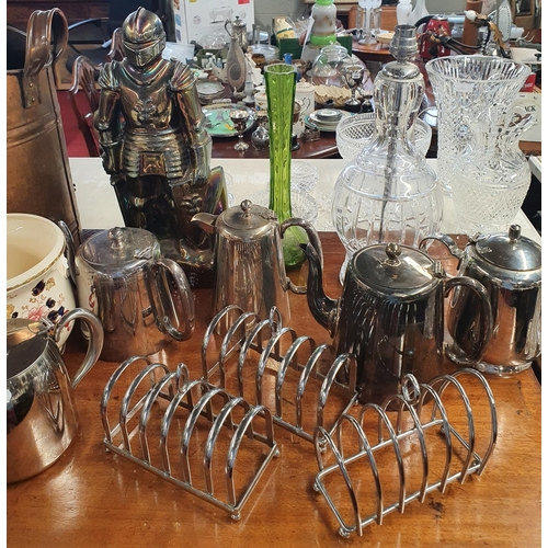 33 - A mixed lot of a large quantity of Ceramics etc., to include pots, silver plate coffee and tea pots,...