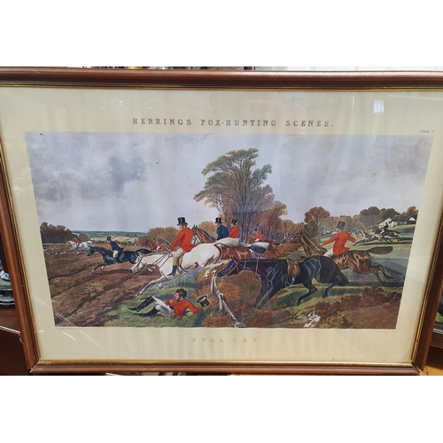 37 - A set of four Herrings Fox Hunting Scenes along with other pictures. 73 x 52 cm approx.