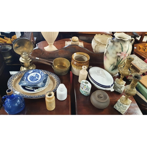 41 - A really good quantity of 19th Century Items to include a pair of heavy brass pans, a pair of garnit...