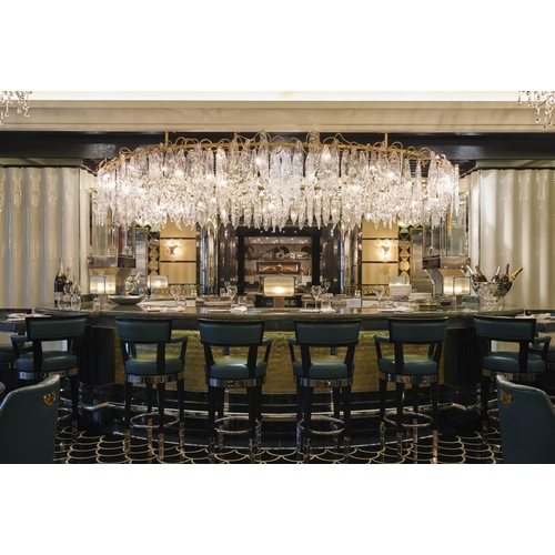 42 - The Most Amazing Gilt Central Light of monumental proportions with hanging crystal drops. Property o...