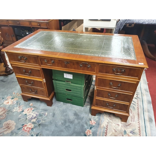 50 - A really good modern Pedestal desk. W 136 x 76 x H 76 cm approx. (damage to leather top).