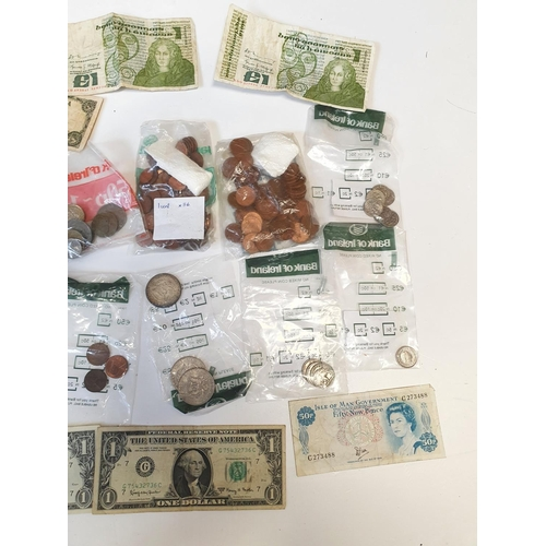 18 - A quantity of US and Irish Coinage along with World Notes.