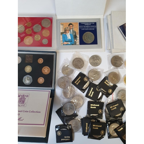 20 - Five sets of Princess Diana marriage Coinage, other Commemorative Coinage along with Mint Sets.
