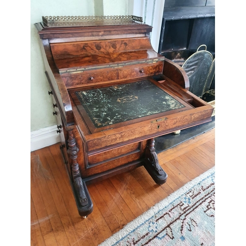 1 - A Superb early 19th Century Walnut 'Jack in The Box' Davenport with rise and fall top mechanism, hig...