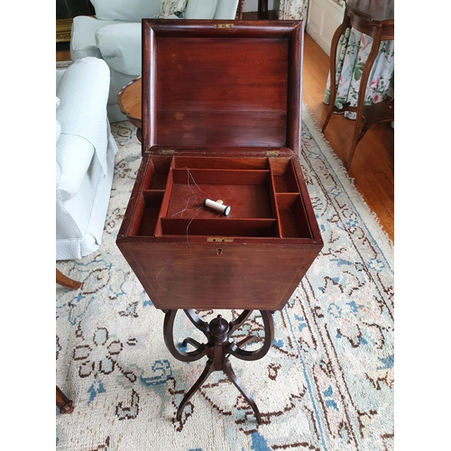 12 - An Edwardian Mahogany Inlaid Sewing Box on shaped stand. 32 x 27 x H72cm approx.
