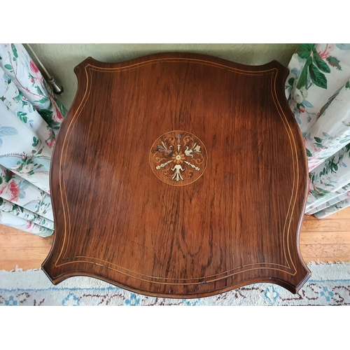 18 - A late19th Rosewood Serpentine shaped Side/Centre Table with an inlaid top. H67 x D49 x W49cm approx...
