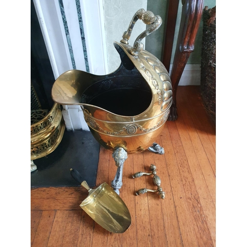 2 - A really good 19th Century Brass Coal Helmet, possibly Irish, with rams head supported feet and fan ...