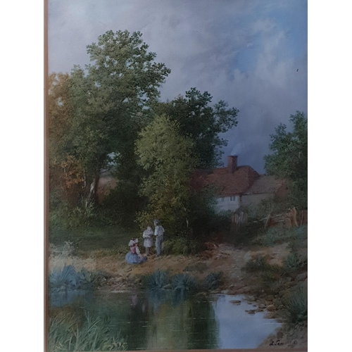 22 - A 19th Century Watercolour of Children beside a pond. Signed A Lane LR. 31 x 25cm approx.