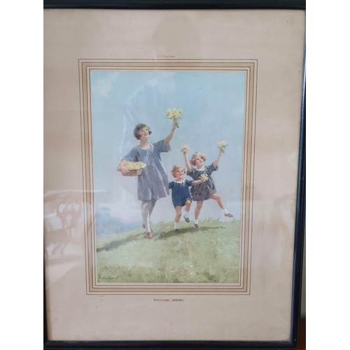 24 - After P Tarrant. A 19th Century Coloured Print 'Welcome Spring'. 50 x W39cm approx.
