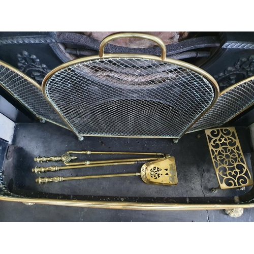 3 - A 19th Century Brass Pierced Fender along with a 19th Century Brass and Mesh Spark Guard and Irons. ...