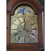 A very important Walnut and Marquetry Inlay Longcase Clock by Anthonij van Oostrom of Amsterdam, with highly carved and fret arch top and dome top. Circa 1740 - 60 . H250 x D30 xW45cm approx.