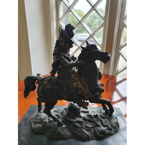 40 - A good Bronze Figure of a Military Man on horseback on a marble base. 32 x 16 x H30cm approx.