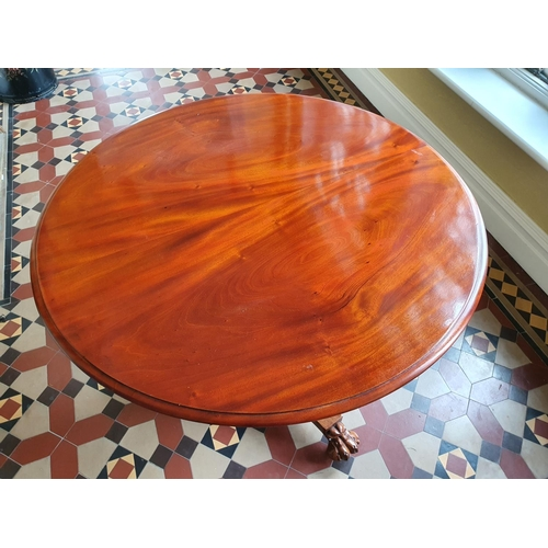 44 - A Victorian Mahogany circular Centre Table with platform base and hairy paw feet. D90 x H72cm approx...
