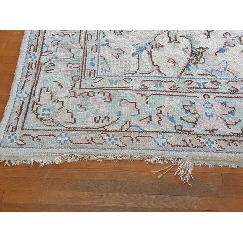 5 - A very large cream ground Carpet with unique allover decoration and multi borders. 460 x 370cm appro...