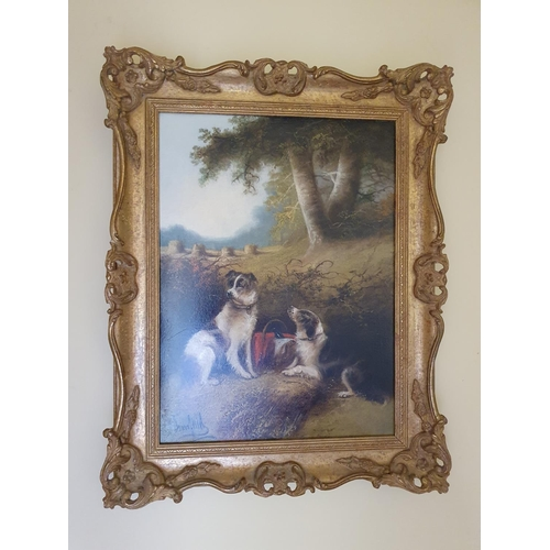 50 - Edward Armfield (1817-1896). An Oil on Board. Hunting Dogs waiting for lunch in a field. Signed LL. ...
