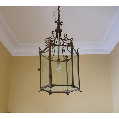 53 - A really good Brass Hall Lantern with swagged top. Drop 65 x Diam32cm approx.