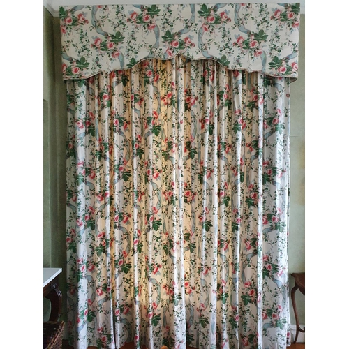 6 - A good set of four very large double lined Curtains with floral rose decoration to fit windows and f...
